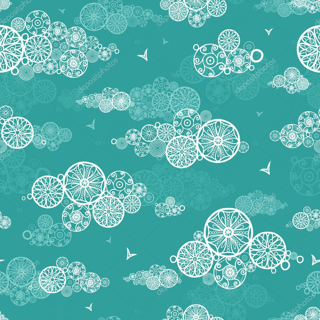 Doodle clouds abstract seamless pattern background