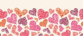 strukturierte rote Herzen horizontale nahtlose Muster Grenze