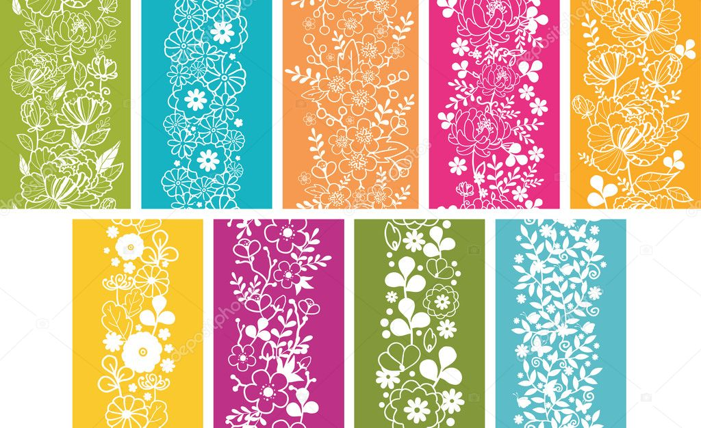 Set Of Nine Spring Flowers Vertical Seamless Patterns Borders