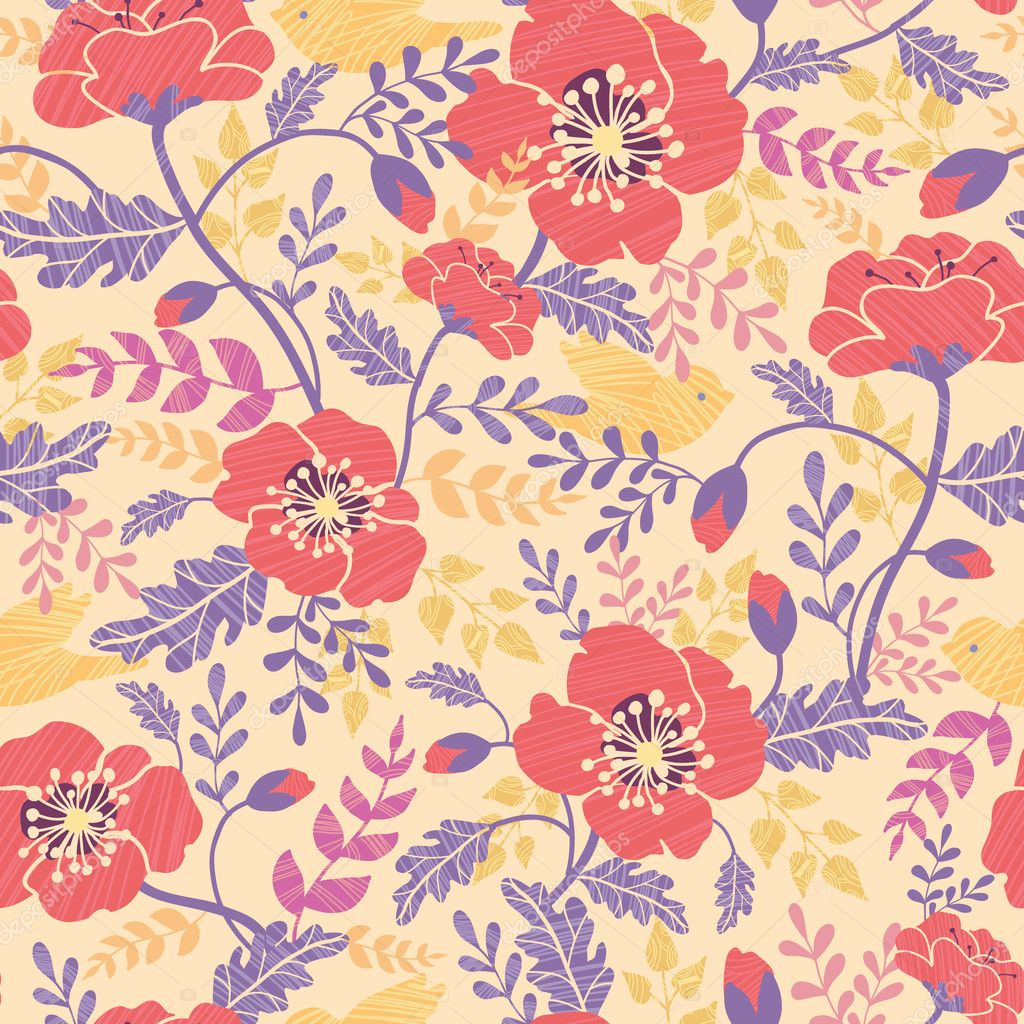 Poppy flowers and birds seamless pattern background