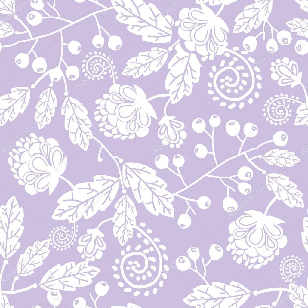 Purple line art flowers seamless pattern background