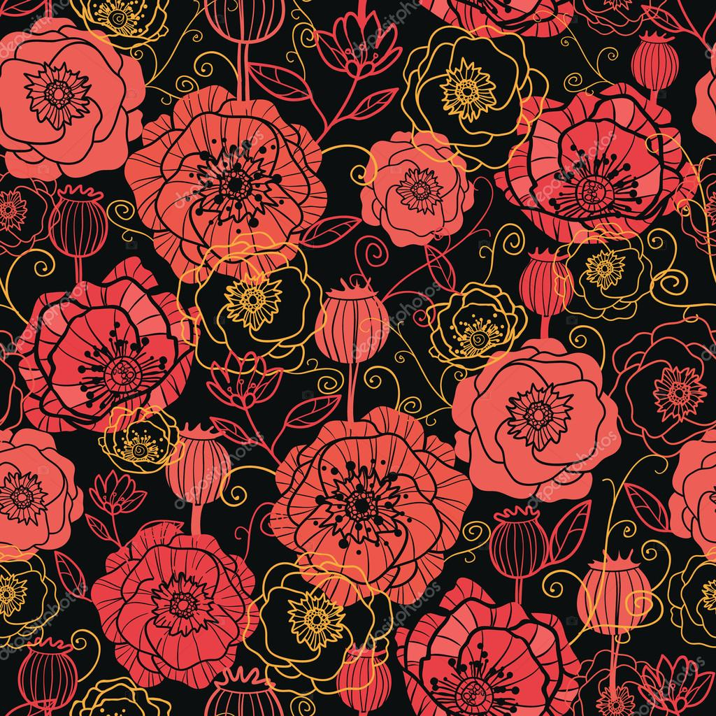 Red and black poppy flowers seamless pattern background