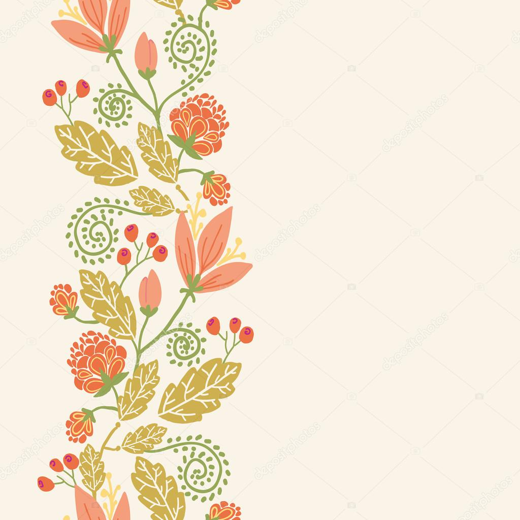 Spring Flowers And Berries Vertical Seamless Pattern Border Stock Vector