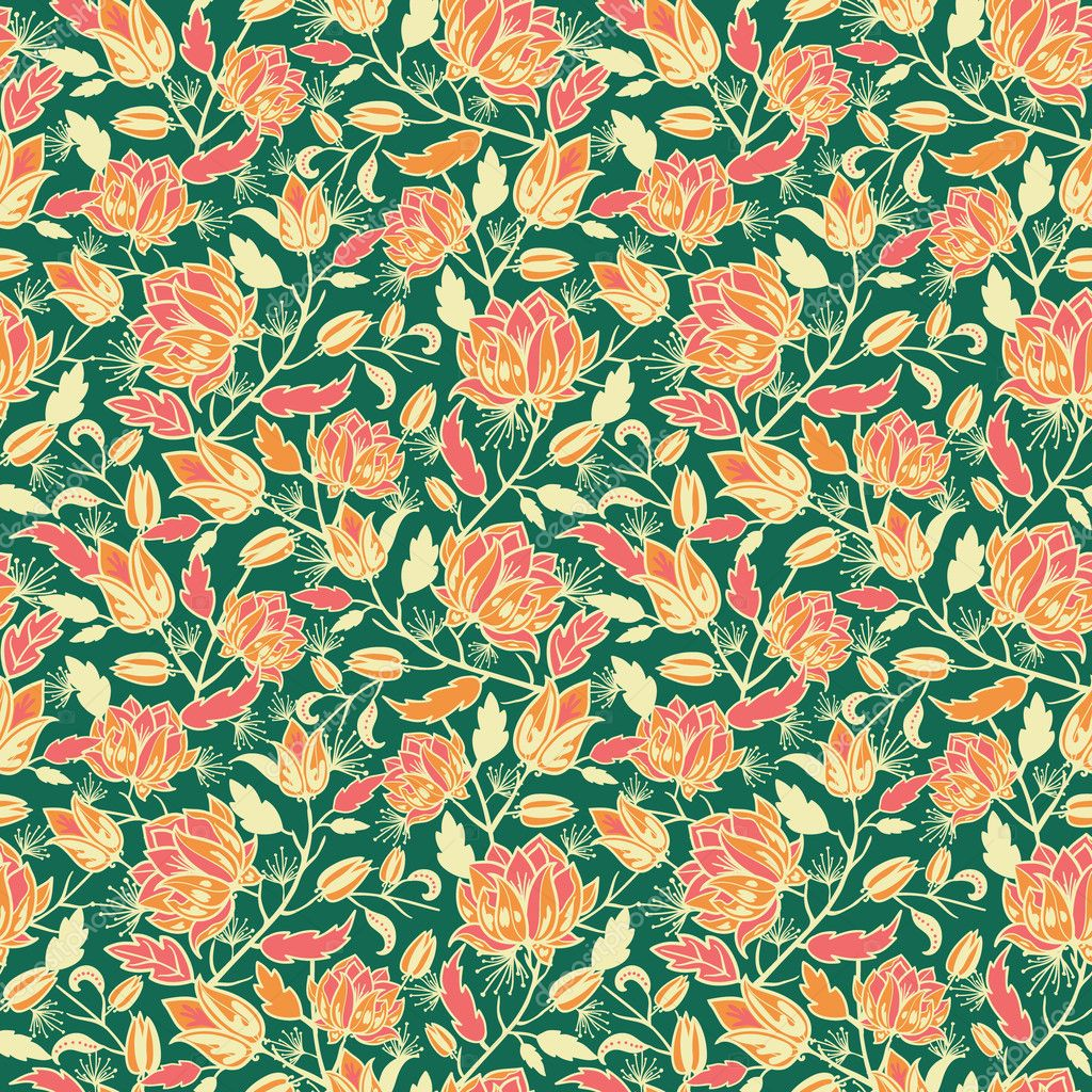Magical flowers and leaves seamless pattern background