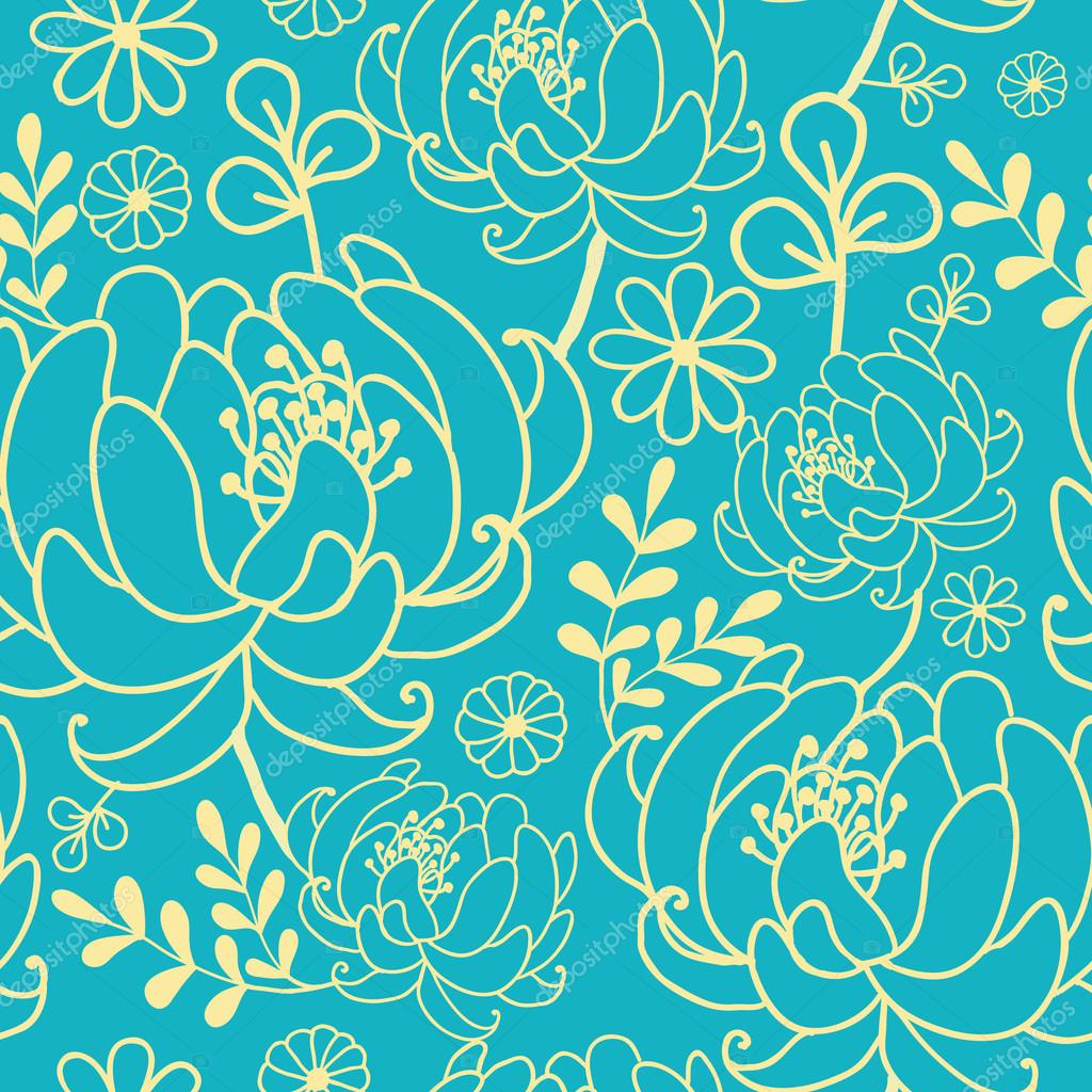 Yellow And Blue Flowers And Leaves Seamless Pattern Background