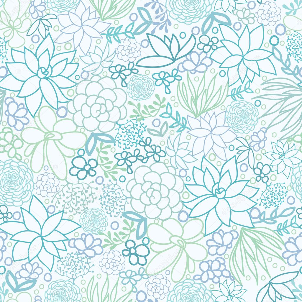 Succulent Plants Seamless Pattern Background