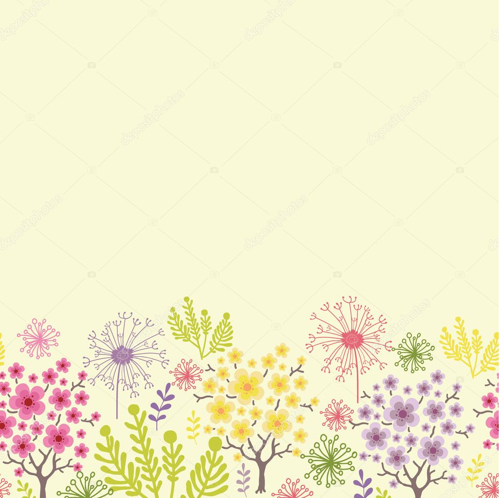 Blossoming trees horizontal seamless pattern background border