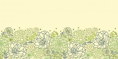 Green succulent plants horizontal seamless pattern border