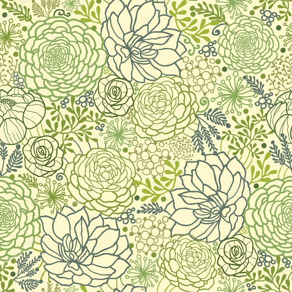 Green succulent plants seamless pattern background