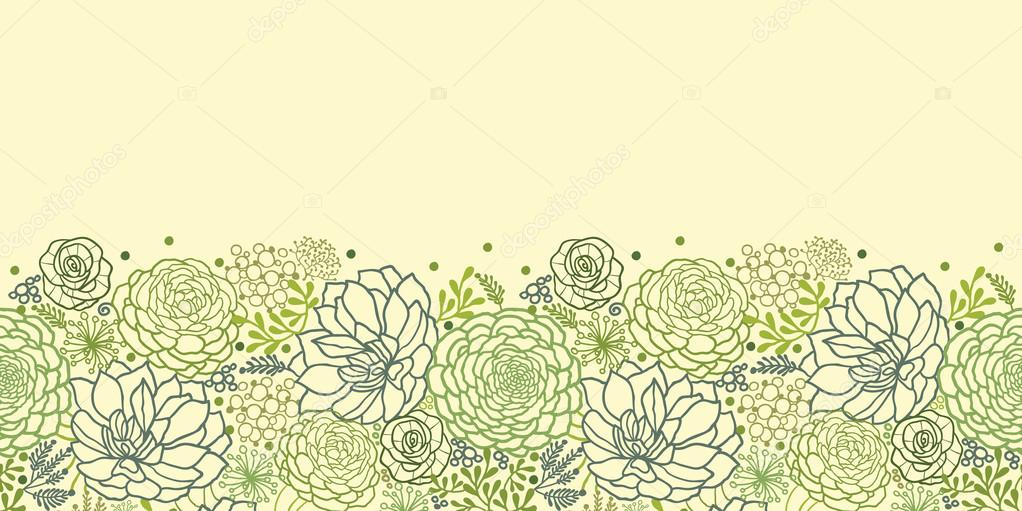Green succulent plants horizontal seamless pattern border