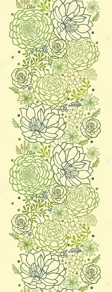 Green succulent plants vertical seamless pattern border