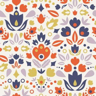 Ornamental folk tulips seamless pattern background