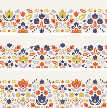 Three vector ornamental folk tulips horizontal seamless patterns ornaments background with ornamental tulip silhouettes. stock vector