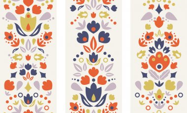 Three vector ornamental folk tulips vertical seamless patterns ornaments background with ornamental tulip silhouettes. stock vector