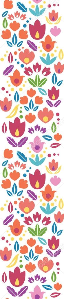 Abstract tulips vertical seamless pattern background border