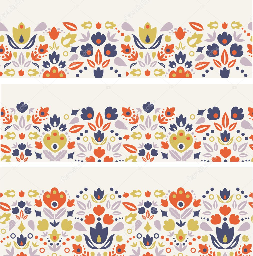 Three ornamental folk tulips horizontal seamless patterns