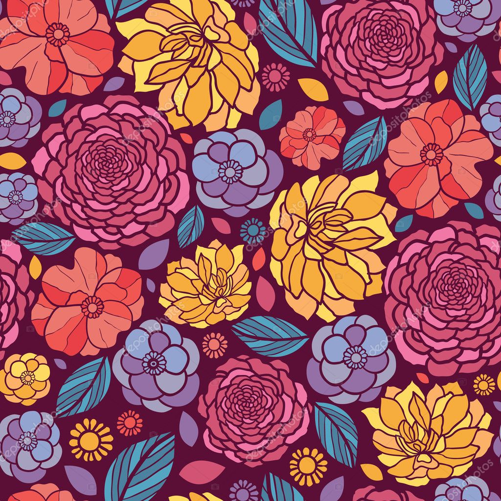 Summer flowers seamless pattern background