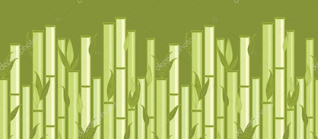 Bamboo stems and leaves horizontal seamless pattern border