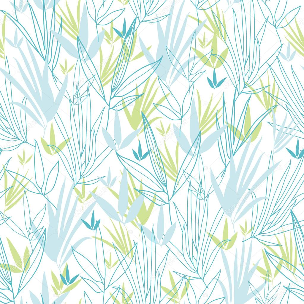 Blue bamboo branches seamless pattern background