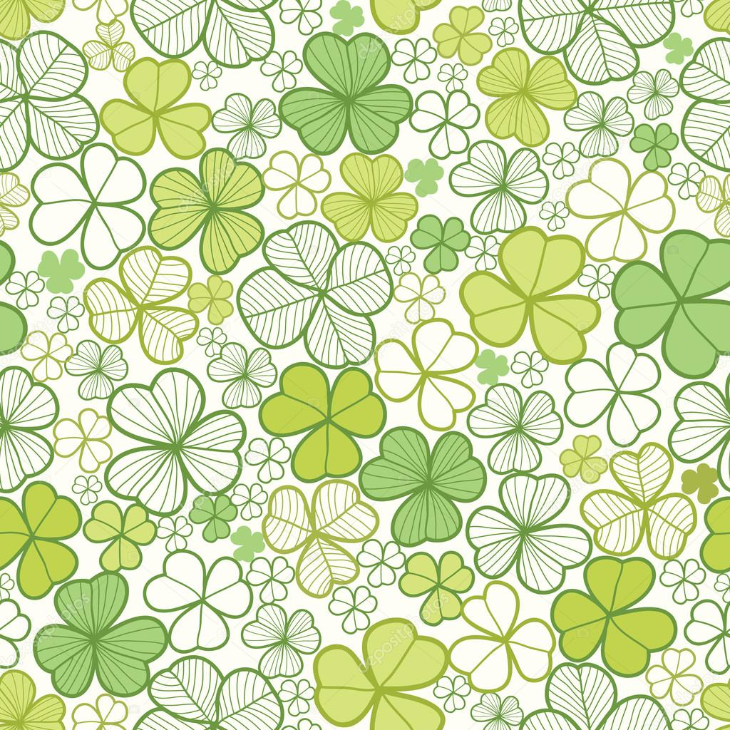 Clover line art seamless pattern background