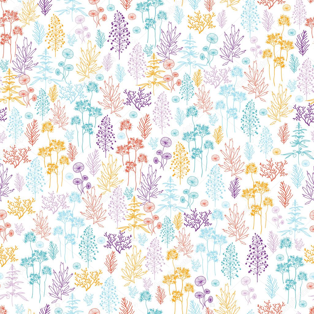Colorful flowers and plants seamless pattern background