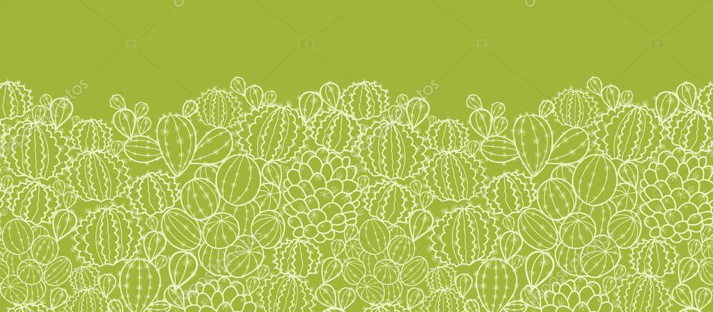 Cactus plants horizontal seamless pattern background border
