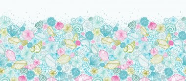 Seashells line art horizontal seamless pattern background border