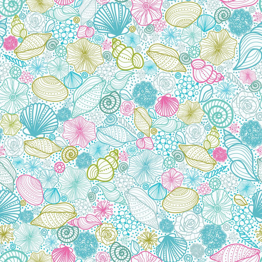 Seashells line art seamless pattern background