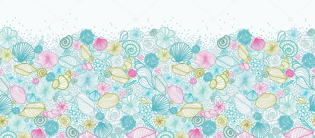 Seashells line art horizontal seamless pattern background border