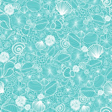 Blue seashells line art seamless pattern background