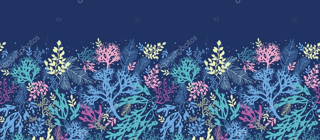 Underwater seaweed horizontal seamless pattern border