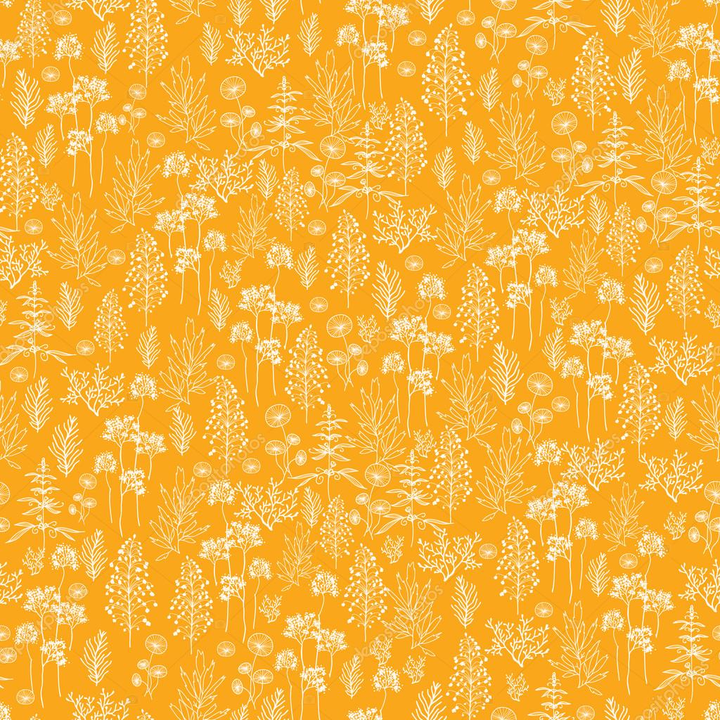 Golden flowers and plants seamless pattern background