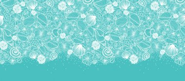 Blue seashells line art horizontal seamless pattern border