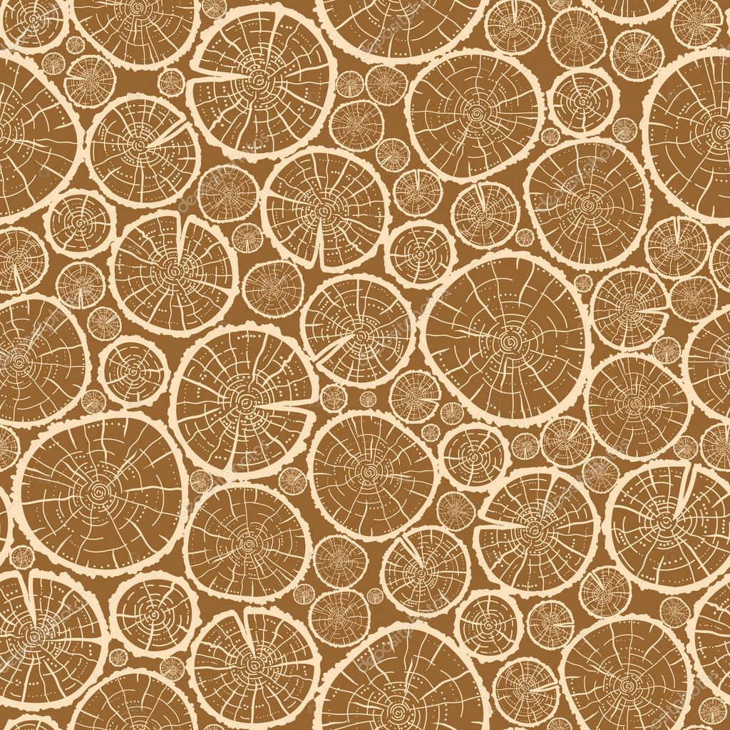 Wood logs cuts seamless pattern background
