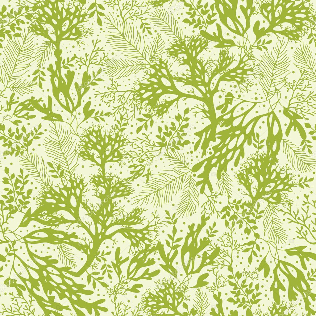 Green underwater seaweed seamless pattern background