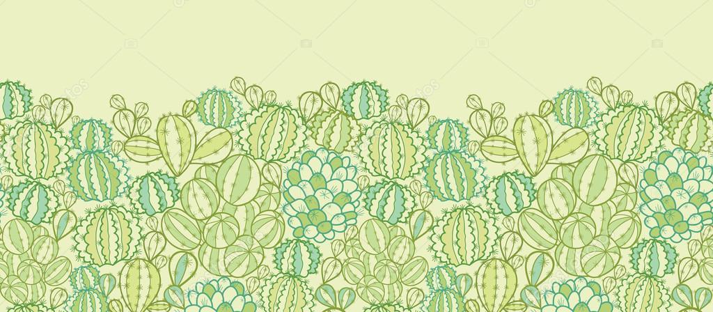 Cactus plants texture horizontal seamless pattern border