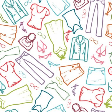Wardrobe clothing seamless pattern background