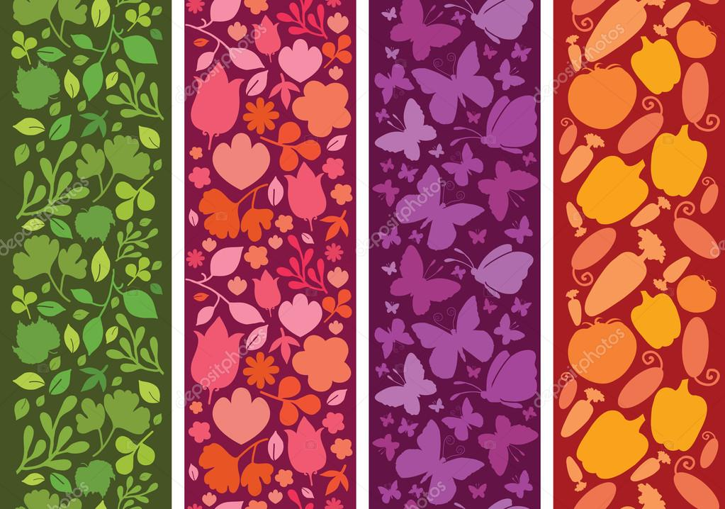 Set of four plants and butterflies horizontal seamless patterns borders