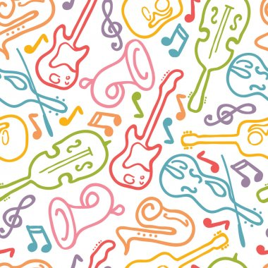 Vector musical instruments seamless pattern background with hand drawn elements. clip art vector