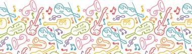 Musical instruments horizontal seamless pattern border