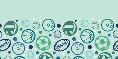 Sports balls horizontal seamless pattern background border