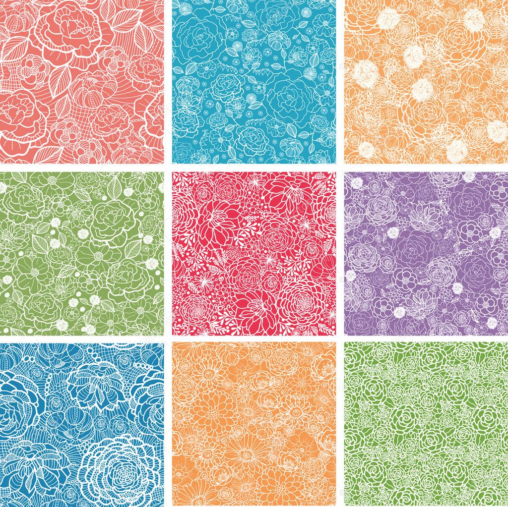Set Of Nine Floral Lace Seamless Patterns Backgrounds
