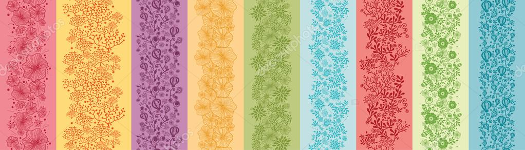 Set Of Nine Colorful Flowers Vertical Seamless Patterns Borders