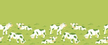 Vector cows on the field horizontal seamless pattern ornament background with hand drawn elements. stock vector