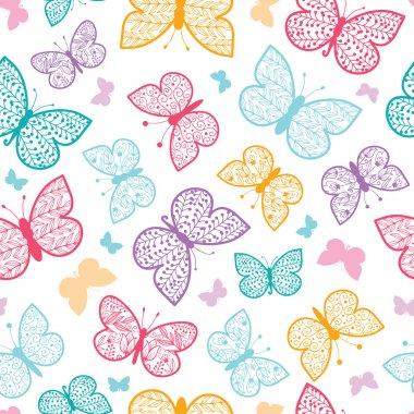 Floral butterflies vector seamless pattern background