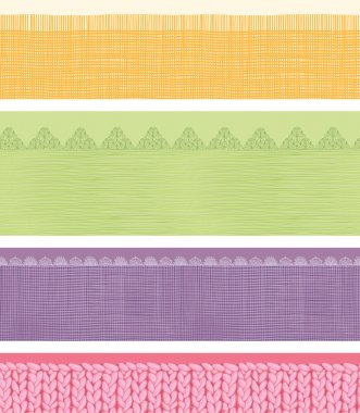 Set of four horizontal textile fabric textures seamless patterns