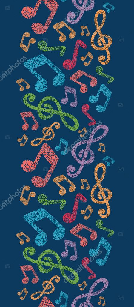 Colorful musical notes vertical seamless pattern background