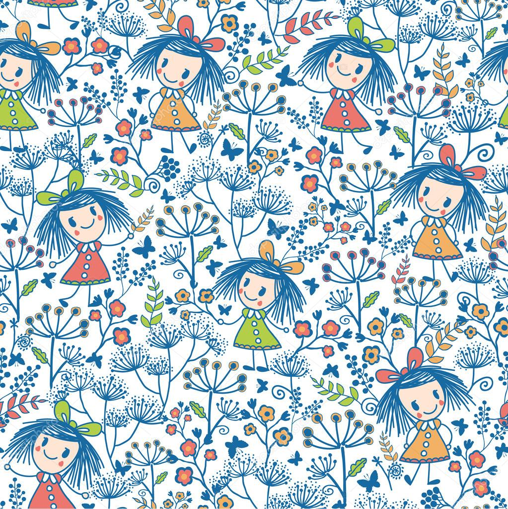 Girls in the flower garden seamless pattern background