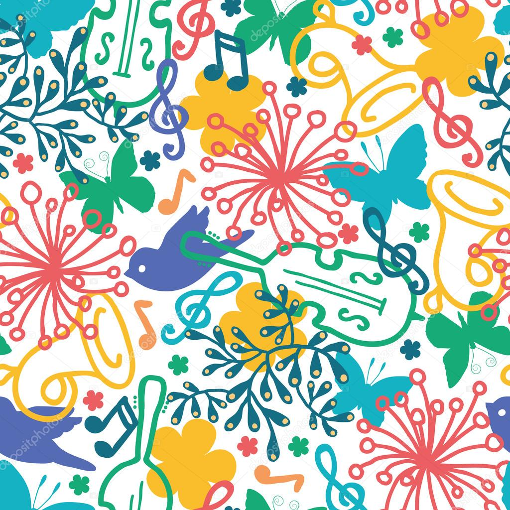 Spring music symphony seamless pattern background