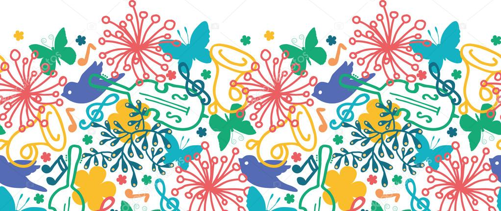 Spring music symphony horizontal seamless pattern background